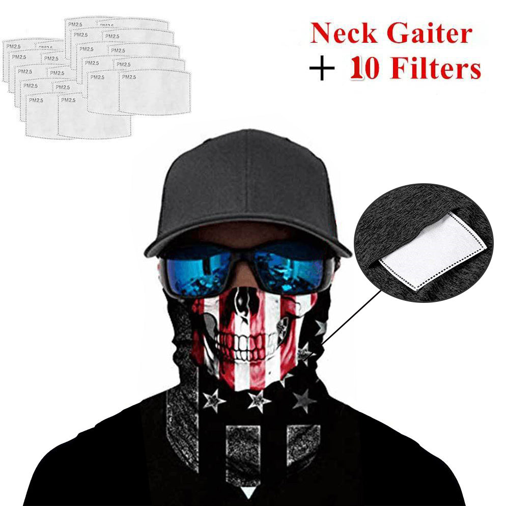 Ice Silk Bandana with Safety Filters Skull