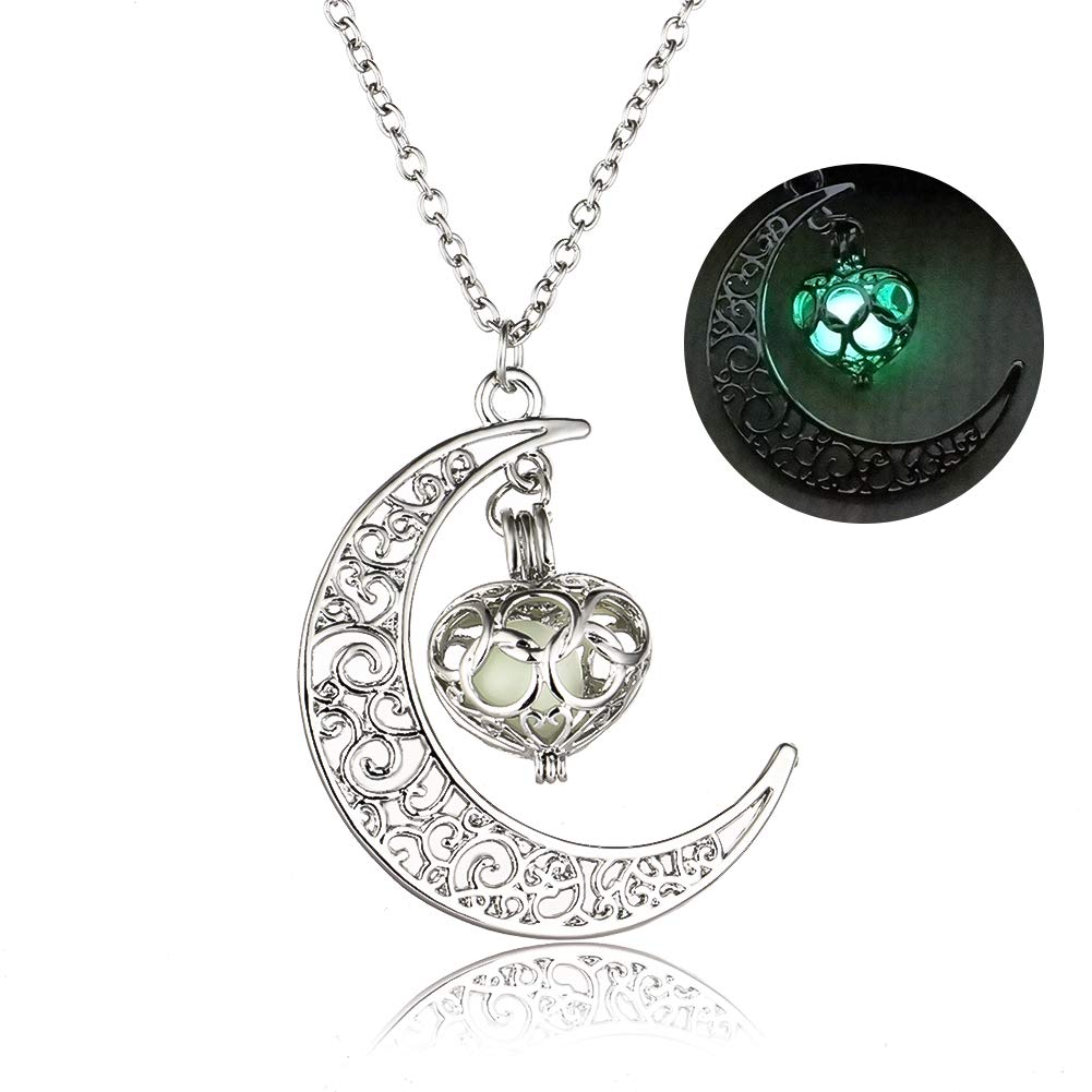 Glow In The Dark Moon Heart Necklace, Free for 100 pcs