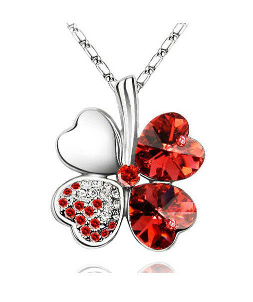 Red Heart Clover Necklace