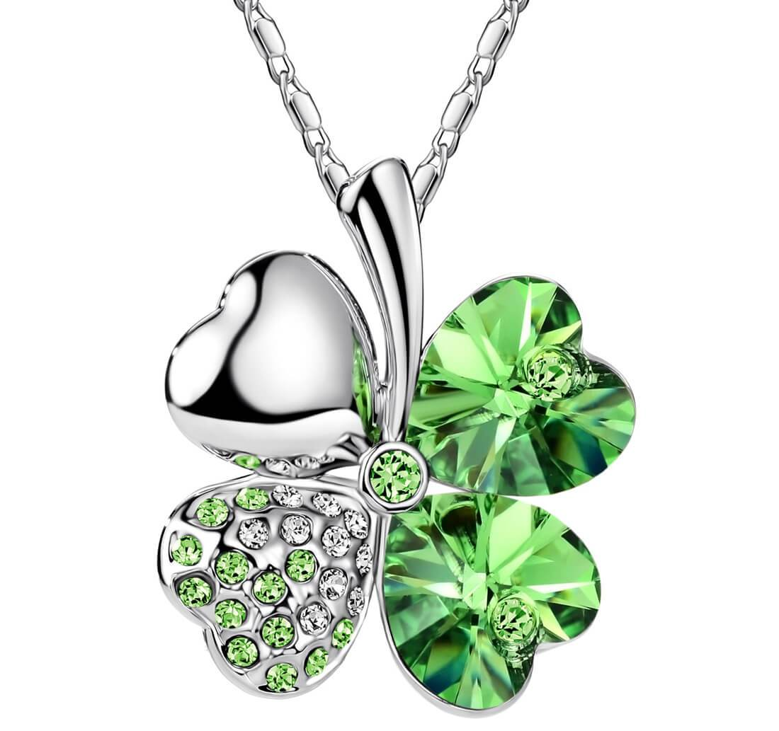 Crystal Four Heart Clover Necklace