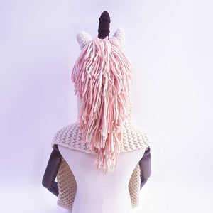 Crochet Cartoon Unicorn Hat With Scarf Pocket