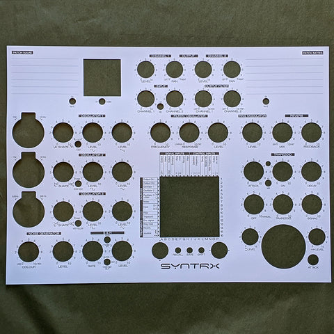Erica Synths SYNTRX patch note sheets (10 pcs) - Elektron Distribution Group