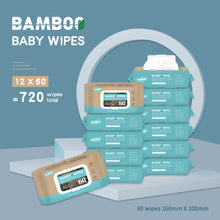 Load image into Gallery viewer, 【ETD: 29th, Jan】Fragrance Free Newborn Sensitive Baby bamboo Wipes 720 Count Super Value Box (Pack of 12)