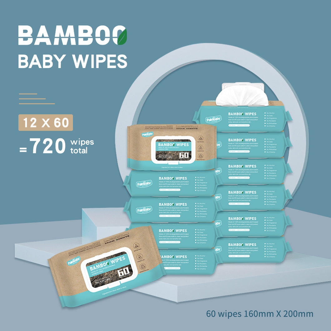 【ETD: 29th, Jan】Fragrance Free Newborn Sensitive Baby bamboo Wipes 720 Count Super Value Box (Pack of 12)