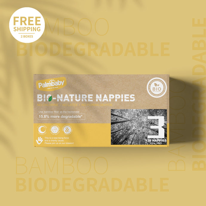 Palmbaby Bio-Nature Nappies,Size 3(6-11kg),120 Count