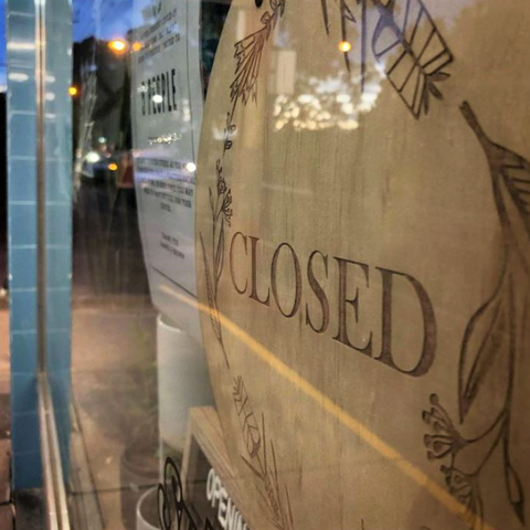 Wood closed sign Banks and Brown