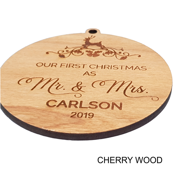 First Christmas as Mr and Mrs Personalised Wood Christmas Ornament