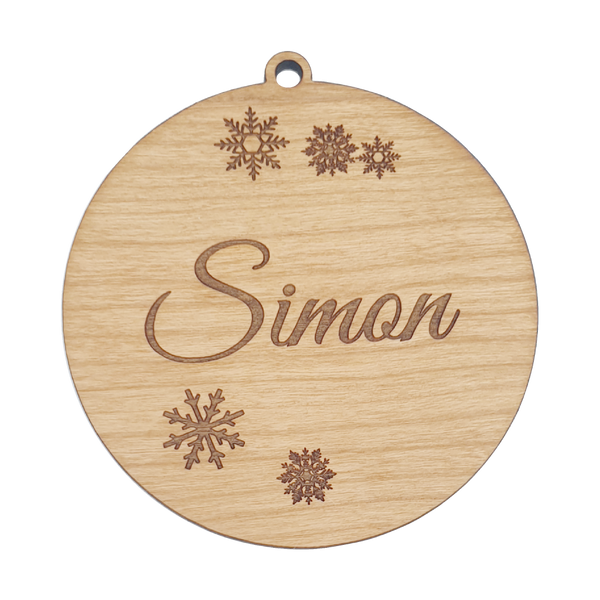 Bauble with Snow Flakes Personalised Wood Christmas Ornament