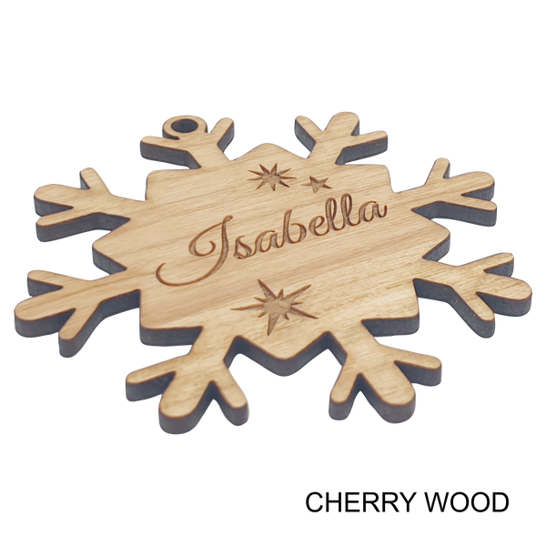 Snow Flake Personalised Wood Christmas Ornament