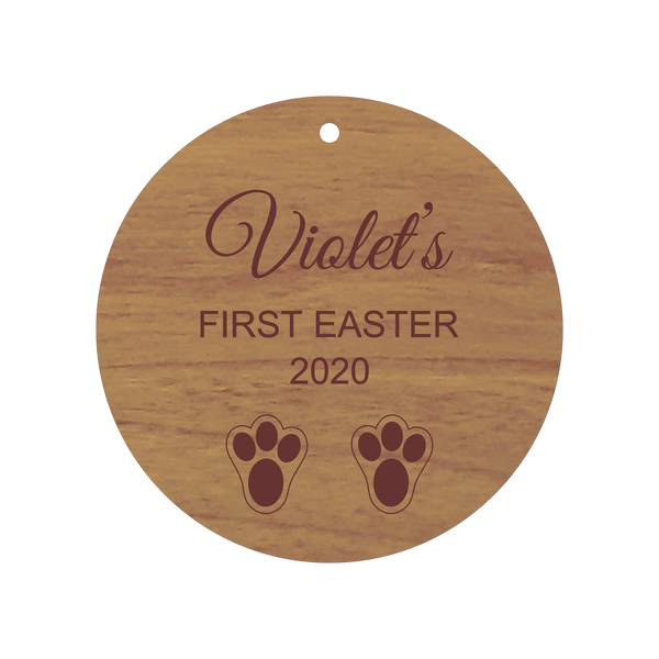 Personalised Baby's First Easter Ornament | Wood