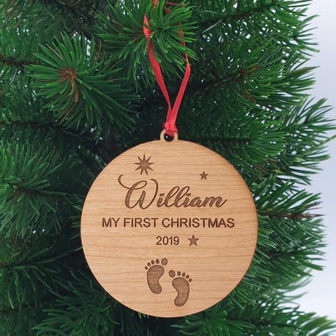 Babies First Christmas Personalised Wood Christmas Ornament
