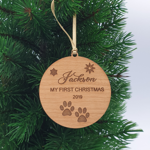 Puppies First Christmas Personalised Wood Christmas Ornament