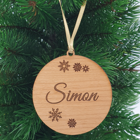 Bauble with Snow Flakes | Personalised Christmas Ornament | Wood