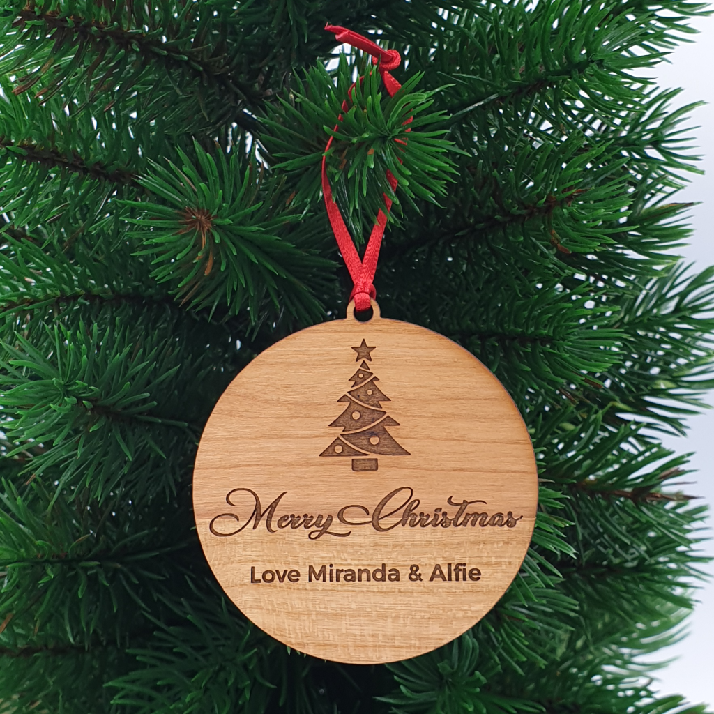 Merry Christmas Bauble  | Personalised Christmas Ornament | Wood