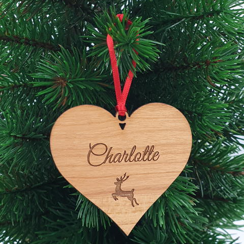 Heart Personalised Personalised Wood Christmas Ornament