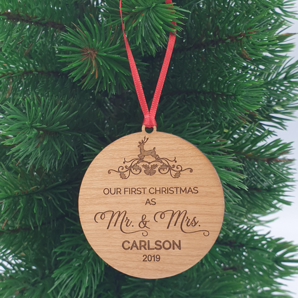 First Christmas as Mr and Mrs  | Personalised Christmas Ornament | Wood