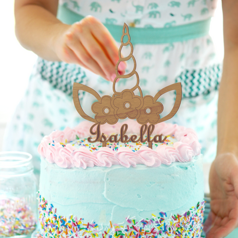 Personalised Unicorn Cake Topper | Wood