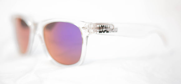 Clear frame Classics RV purple lenses
