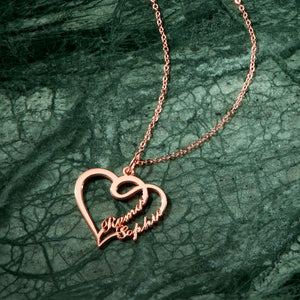 Overlapping Heart Two Name Necklace 14k Gold Plated