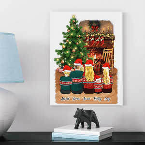 Christmas Family Cartoon Personalized Canvas 8inch x 10inch