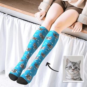 Custom Photo Knee High Socks Cat - MyPhotoSocks