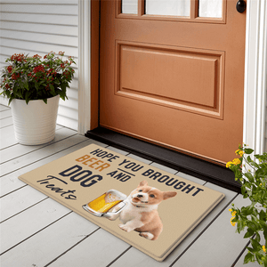 Dog Photo Doormat-Drink A Beer With Your Dog's Photo
