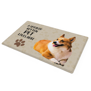 Spoiled Here Doormat with Dog Photo and Name