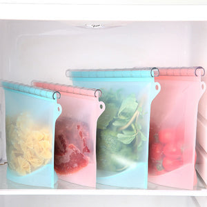 Multiple Color and Size Reusable Silicone Food Storage Bag