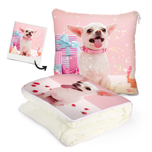 "Custom Pet Photo Quillow - Multifuctional Throw Pillow and Quilt 2 in 1 - 47.25""x55.10"""