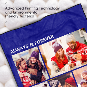 Custom Perfect Love Fleece Photo Blanket with 5 Photos