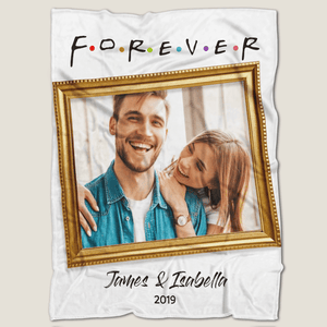 Love Forever Personalized Fleece Photo Blanket with Text
