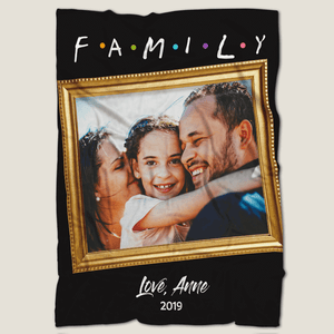Gifts for Mom Family Together Personalized Fleece Photo Blanket with Text