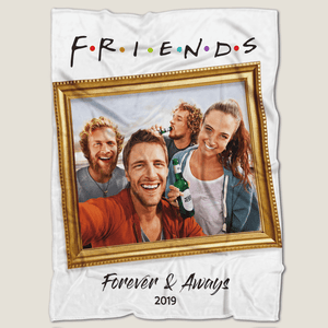 """Friends"" Style Personalized Fleece Photo Blanket with Text"