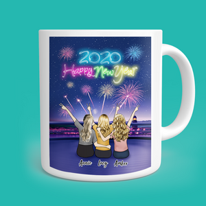 Happy New Year Family and Friends Personalized Coffee Mug