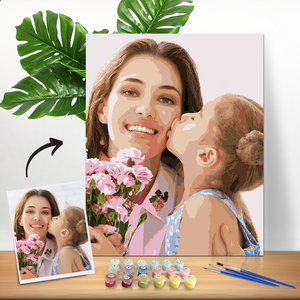 Gifts for Mom DIY Paint by Numbers, Custom Her Photo Wall Decor Oil Painting Canvas