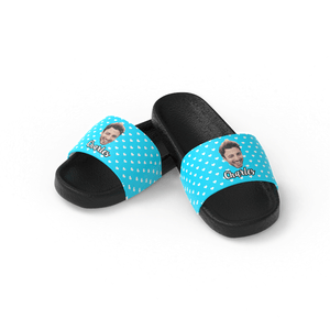 Custom Photo Face Men's Slide Sandals With Name