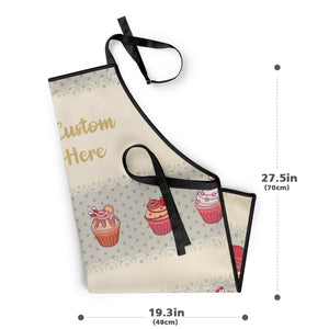 Mother' s Day Gifts Custom Kitchen Cooking Apron with Your Text and Cupcake