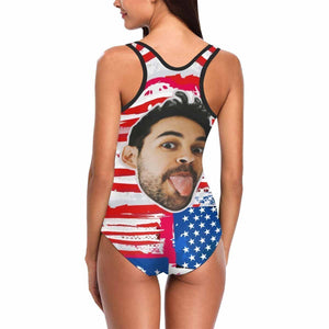Custom Funny Face USA Flag Women's One Piece Swimsuit