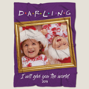 Darling Cute Baby Personalized Fleece Photo Blanket with Text