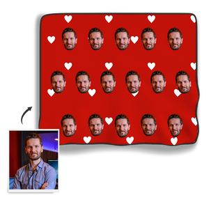 Face My Heart Personalized Fleece Photo Blanket