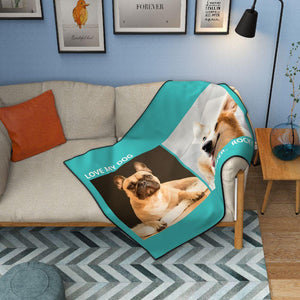 Personalized Pets Fleece Photo Blanket with 2 Photos