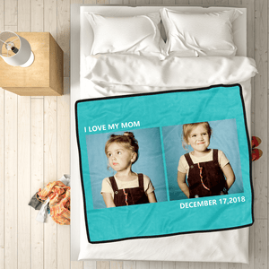 Personalized Kids Fleece Photo Blanket with 2 Photos