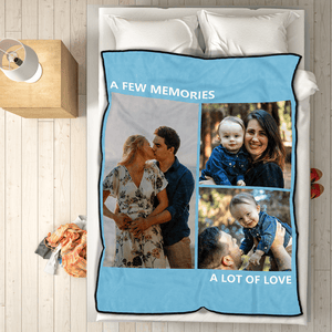 Custom Photo Fleece Blanket Happy Family with 3 Photos 40x50