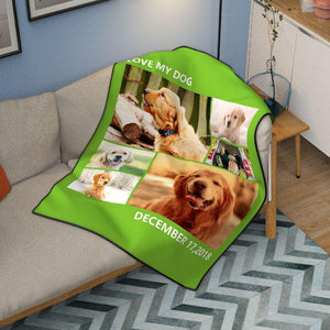 Lovely Pets Personalized 50x60 Fleece Photo Blanket with 6 Photos