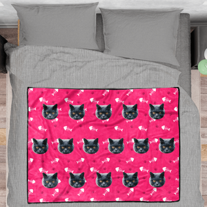 Cat paw Personalized Fleece Photo Blanket - Pink