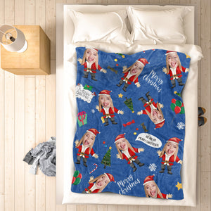 Christmas Santa Photo Face Fleece Blanket