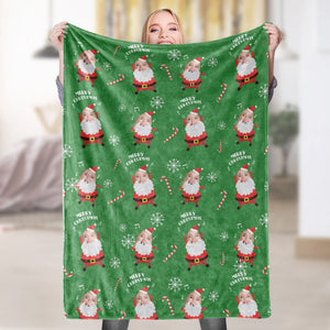 Merry Christmas Santa Photo Face Fleece Blanket