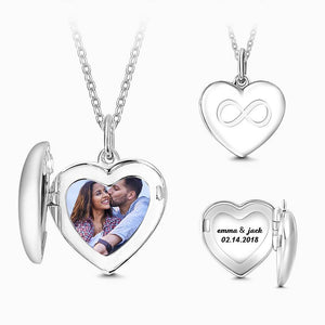 Silver Inifinity Heart Photo Locket With Engraving Name