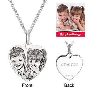 Mother's Day Gifts Engraved Heart Shadow Carving Photo Necklace Silver