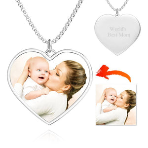 Engraved Heart Tag Photo Necklace Silver